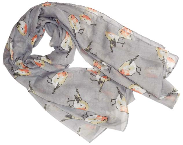 festive robin scarf in grey
